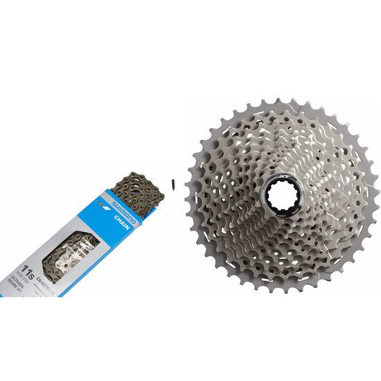 Shimano Deore XT CS-M8000 Kassette 11-40 & CN-HG701 Kette 11-fach Bundle grau bei fahrrad.de Online