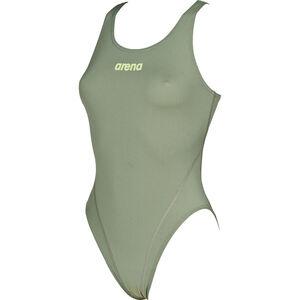 arena Solid Swim Tech High One Piece Swimsuit Damen army-shiny green army-shiny green