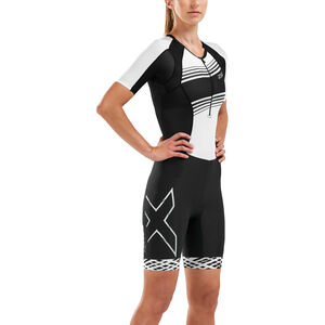 2XU Compression Sleeved Trisuit Damen black/black white lines black/black white lines