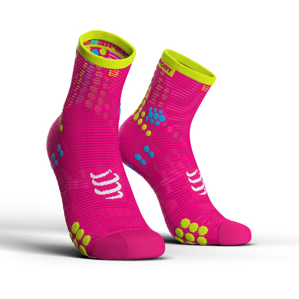 Compressport Pro Racing V3.0 Run High Socks fluo pink