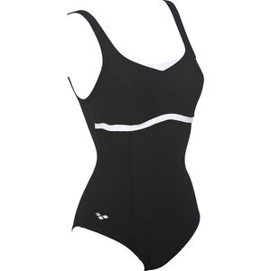 arena Theresece Squared Back One Piece Swimsuit Women black-white bei fahrrad.de Online