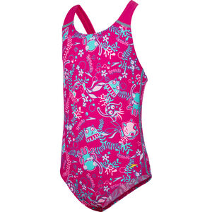 speedo Seasquad Allover Swimsuit Mädchen pink/pink splash/bali blue pink/pink splash/bali blue