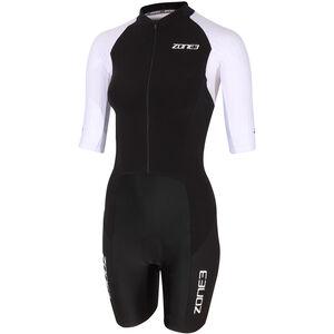 Zone3 Lava Long Distance Full Zip Kurzarm Trisuit Damen black/white/green black/white/green