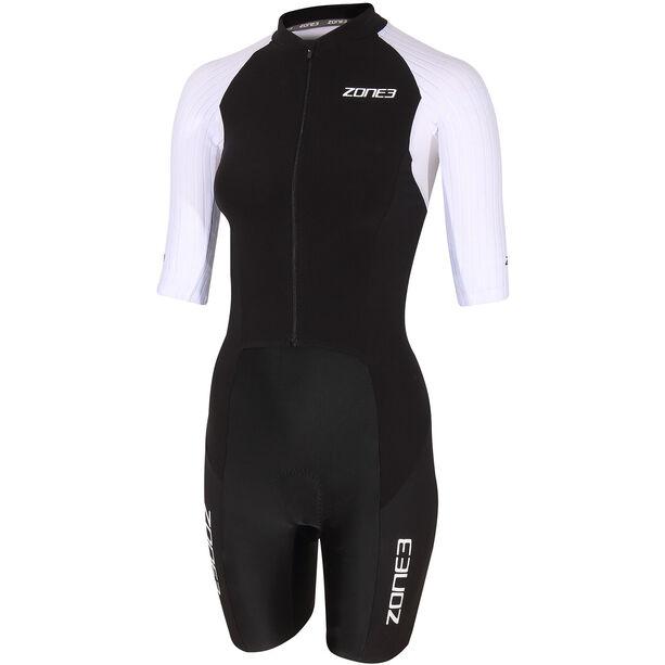 Zone3 Lava Long Distance Full Zip Kurzarm Trisuit Damen black/white/green