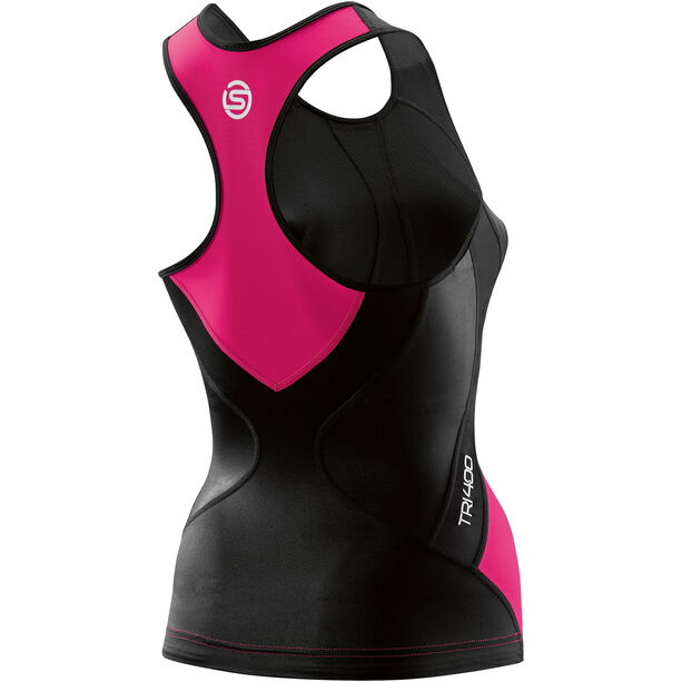 Skins TRI400 Racer Back Tri Top Damen black/pink