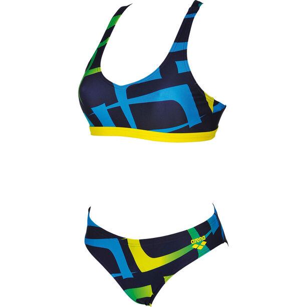 arena Scrawl Two-Pieces Swimsuit Damen navy-yellow star
