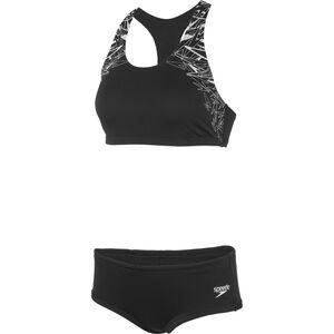 speedo Boom Placement Two-Pieces Swimsuit Damen black/white black/white