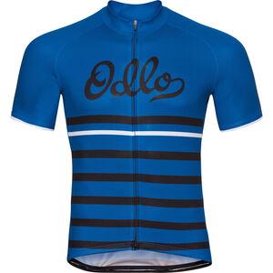 Odlo Fujin Print Stand-Up Collar SS Full Zip Shirt Men energy blue-black-retro