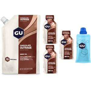 GU Energy Gel Bundle Vorratsbeutel 480g + Gel 3x32g + Flask Chocolate Outrage