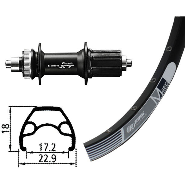 Rodi M460 Hinterrad HR, 26x1.9, 32L, Disc, mit Deore XT Centerlock schwarz