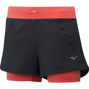 Mizuno Mujin 4.5 2in1 Shorts Women Black/Hot Coral bei fahrrad.de Online