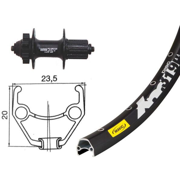 Bike-Parts Hinterrad 26 x 1.90, Shimano Deore XT, 8/9-fach