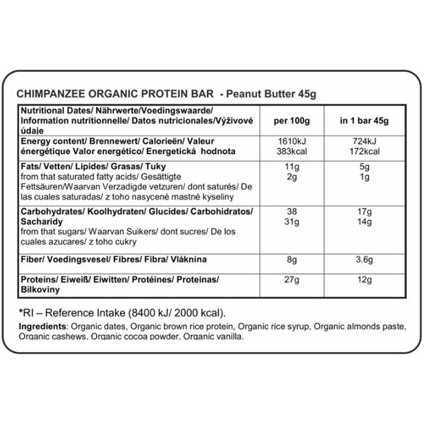 Chimpanzee Organic Protein Bar Box Erdnussbutter (Vegetarisch) 25 x 45g