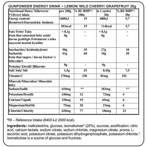 Chimpanzee Gunpowder Energy Drink 20x30g Zitrone