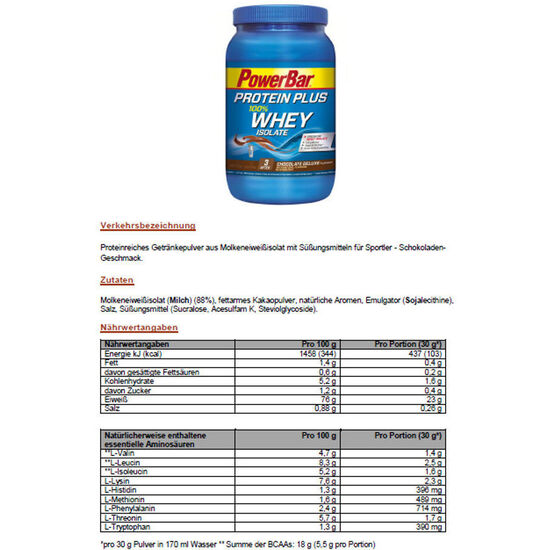 PowerBar ProteinPlus Whey Isolate 100% Dose Chocolate Deluxe 570g bei fahrrad.de Online