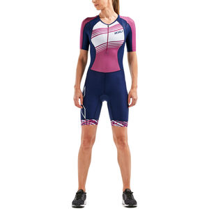 2XU Compression Sleeved Trisuit Damen navy/very berry white lines