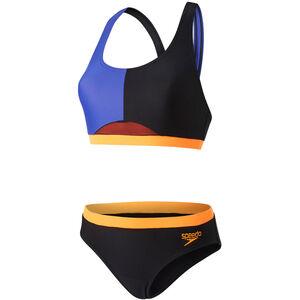 speedo HydrActive 2 Piece Bikini Women Black/Ultramarine/Fluo Orange bei fahrrad.de Online