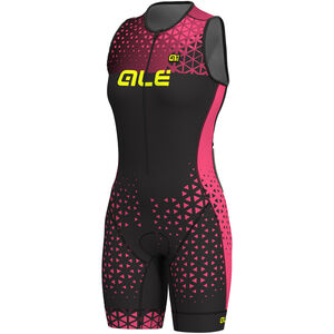 Alé Cycling Triathlon Rush Sleeveless Unitard Long Damen black flou pink black flou pink