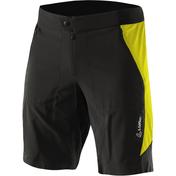 Löffler Superlitano Comfort Stretch Superlite Bike Shorts Herren schwarz/zitrone