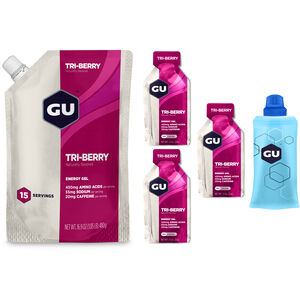 GU Energy Gel Kombipaket Vorratsbeutel 480g + Gel 3x32g + Flask Tri Berry