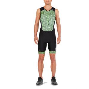 2XU Perform Front Zip Trisuit Herren black/geo neo green black/geo neo green