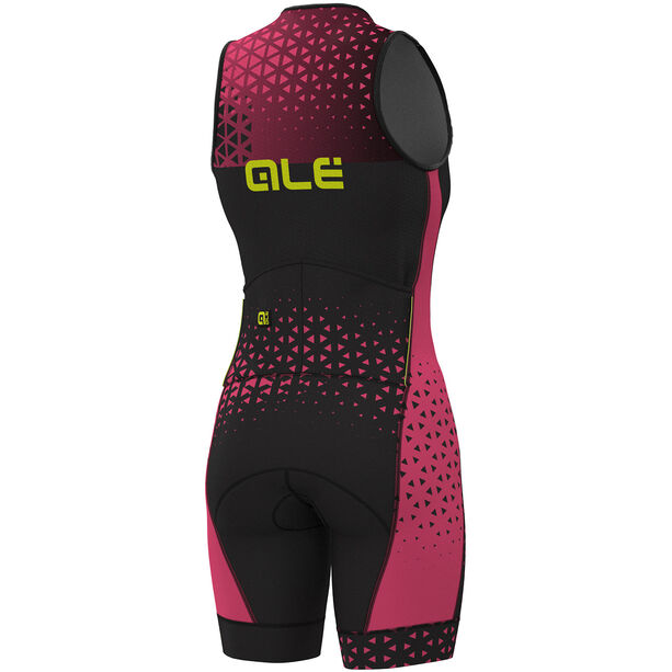 Alé Cycling Triathlon Rush Sleeveless Unitard Long Damen black flou pink