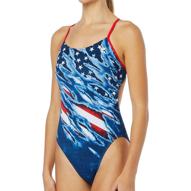 TYR Live Free Cutoutfit Bathing Suit Damen red/white/blue