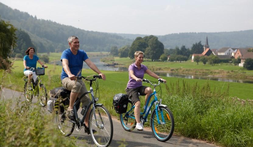 Der Weserradweg- Radfahrer
