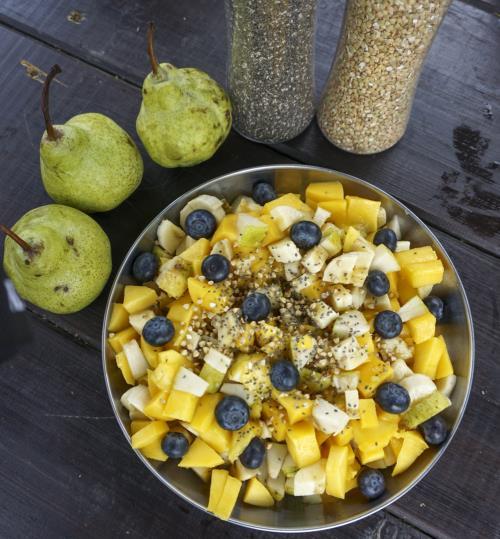 obstsalat - radtour - Frühstück - vegan ernähren